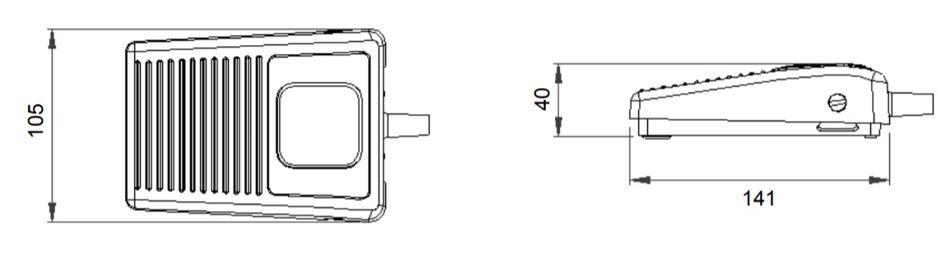 dimensions en mm de la pédale 6210