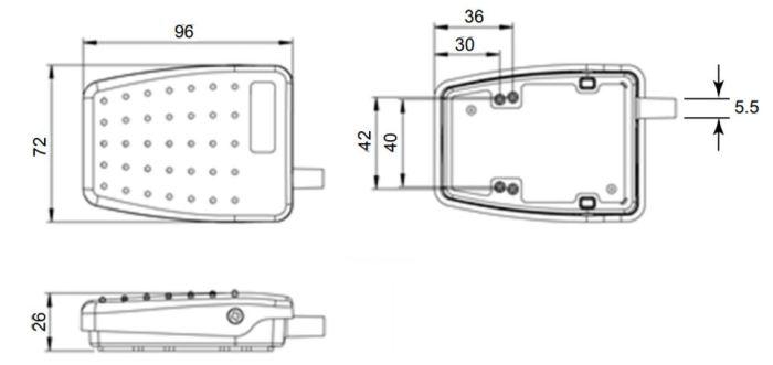 dimensions en mm de la pédale 6225