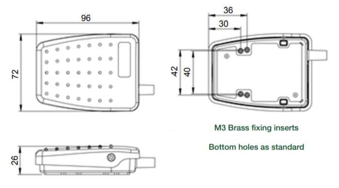 dimensions en mm de la pédale 6226
