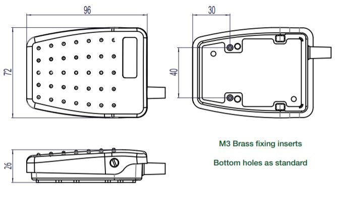 dimensions en mm de la pédale 6229