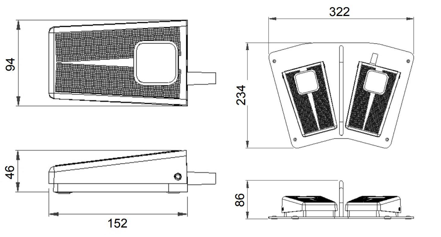 dimensions en mm de la pédale 6254