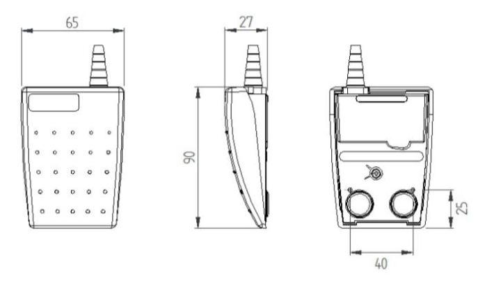 dimensions en mm de la pédale LEPTRON 6220