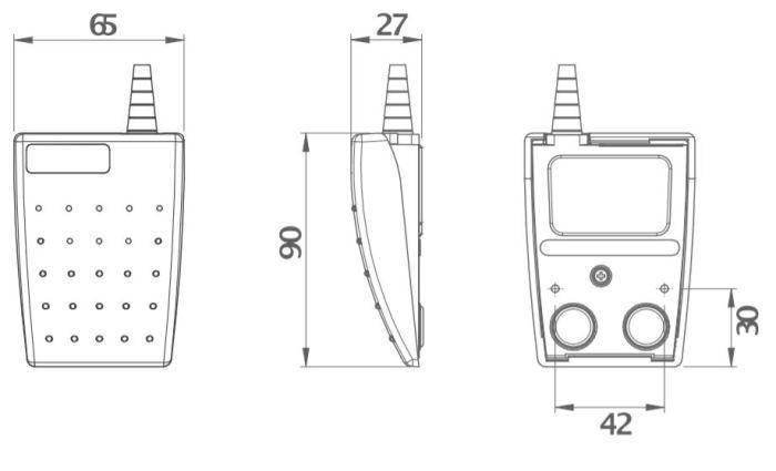 dimensions en mm de la pédale LEPTRON 6221