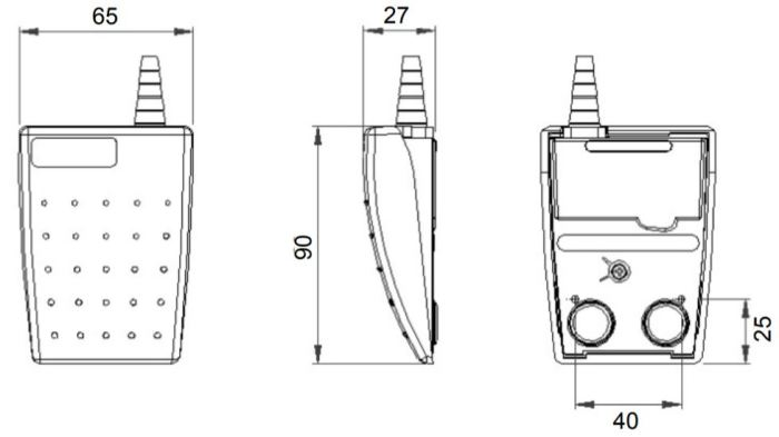 dimensions en mm de la pédale LEPTRON 6223