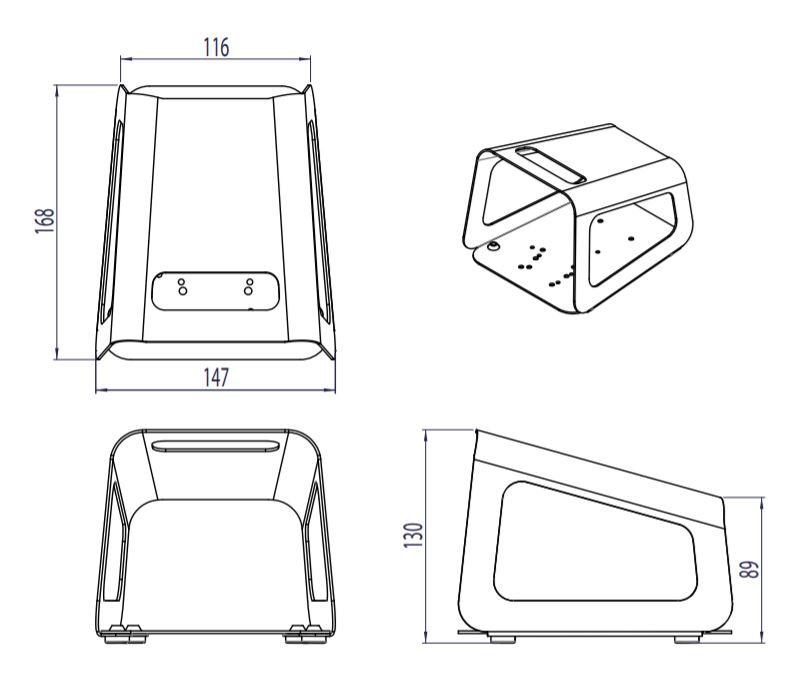 dimensions en mm du capot simple 6202