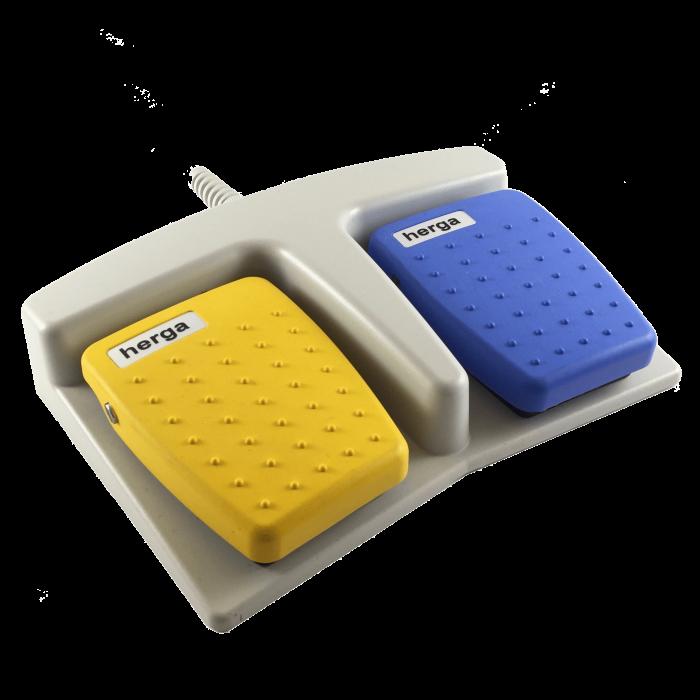 Pédale double médicale jaune bleue
