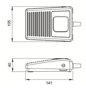 Dimension pédale 6219 : pédale électrique pneumatique potentiométrique ou USB