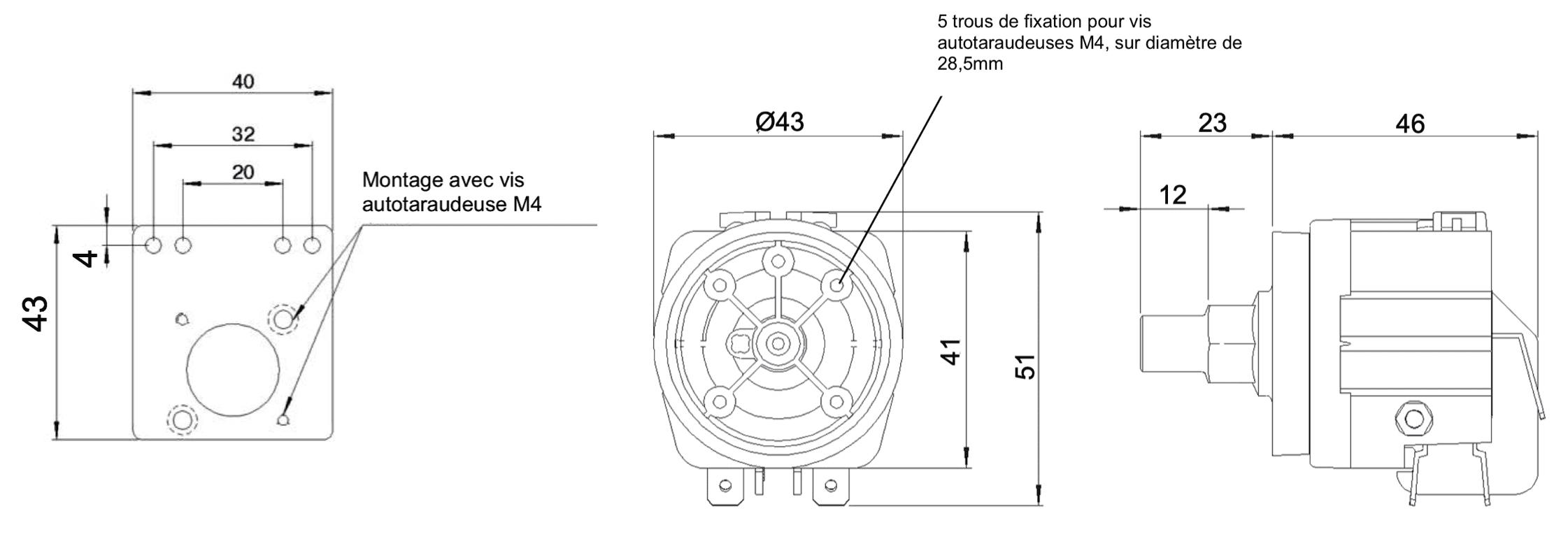 dimensions manostat 6741 6742 plaque de montage 6050-6000-0001