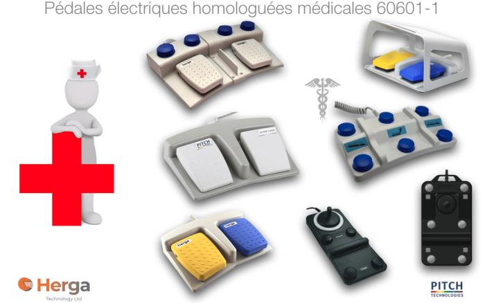 Pédales électriques homologuées médicales 60601-1